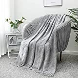 LUCIAN Knitted Throw Blankets Grey, Decorative Textured Cozy Throw, Lightweight Woven Blanket with Tassels for Couch, Bed, Sofa,Travel 50' 60',Suitable for Women Men and Kids