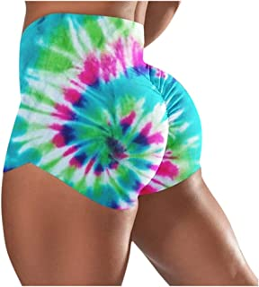 Beishi Womens Workout Leggings Yoga Shorts -2020 Fashion Tie-Dye Tight Basic Slip Bike Shorts