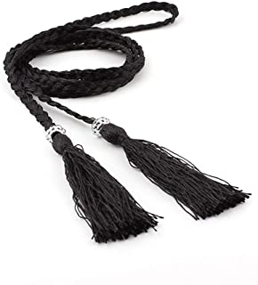 SGJFZD Summer New Fashionable Version of The Waist Rope Hand-Woven Ethnic Wind Thin Rope Dress Knotted Decorative Waist Chain Female (Color : Black)