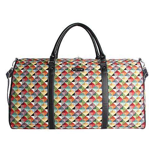 Signare Gobelin-Gepäcktasche für Reisen und Sport/große Reisetasche für Damen Sporttasche Damen mit Farbmuster Designs (bunt geometrisch)