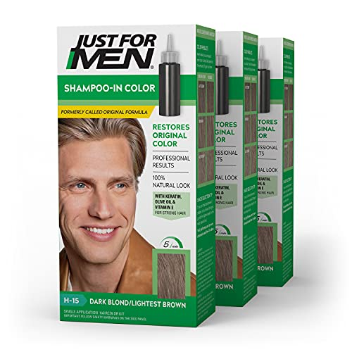 Just For Men Shampoo-In Color (Formerly Original Formula), Gray Hair Coloring for Men - Dark Blond/Lightest Brown, H-15, Pack of 3 (Packaging May Vary) (011509049391)