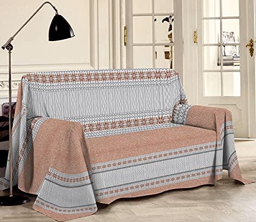 HomeLife - Tela decorativa para sofá, diseño de estampado con efecto de malla, 250 x 290 cm, fabricada en Italia – Tela multiusos de algodón – Granfoulard para verano de matrimonio, color naranja