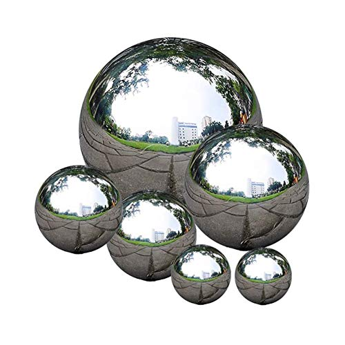 zosenda Stainless Steel Gazing Ball, 6 Pcs 50-150 mm Mirror Polished Hollow Ball Reflective Garden Sphere, Floating Pond Balls Seamless Gazing Globe for Home Garden Ornament Decorations (6 Pcs Mix)