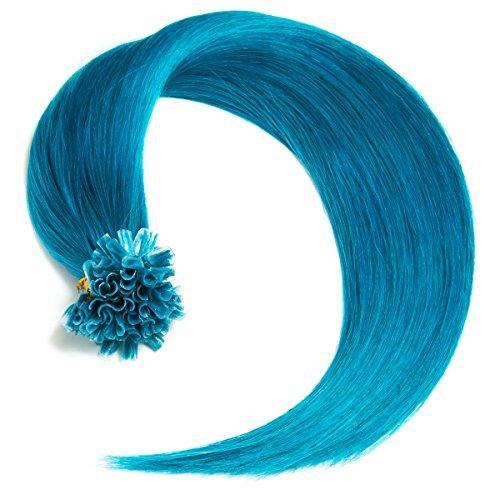 Türkise Bonding Extensions aus 100% Remy Echthaar - 25x 1g 60cm Glatte Strähnen - Lange Haare mit Keratin Bondings U-Tip als Haarverlängerung und Haarverdichtung in der Farbe #türkis