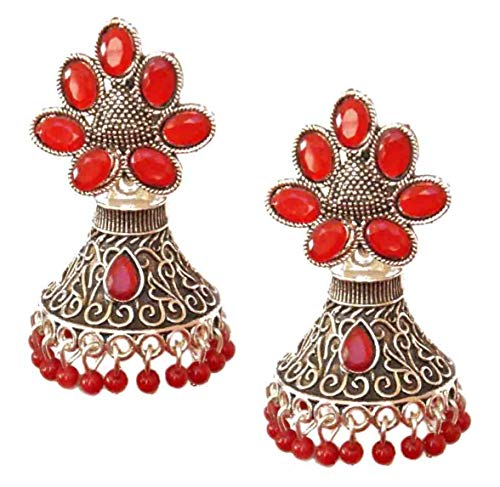 Pahal Ethnic Bollywood Oxidized Red Pearl Kundan Big Silver Jhumka Earrings Indian Bollywood Party Wear Jewelry for Women