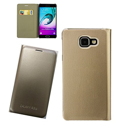 Digital Bay Custodia Cover Horizontal Flip Case Oro Gold per Samsung Galaxy A3 2017 SM-A320F
