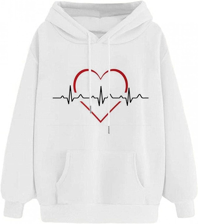 Womens Long Sleeve Tops Oversized Sweatshirt Heart ECG Graphic Hoodie Pullover Winter Comfy Blouse