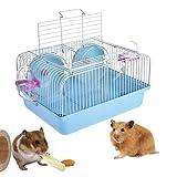 Viajes Hamster Jaula Hamster Jaula Piso Carrier Mouse House 2 Plantas Duradero y Ligero con la Diapositiva Disco Botella de Giro por Jerbos Ratones (Azul)