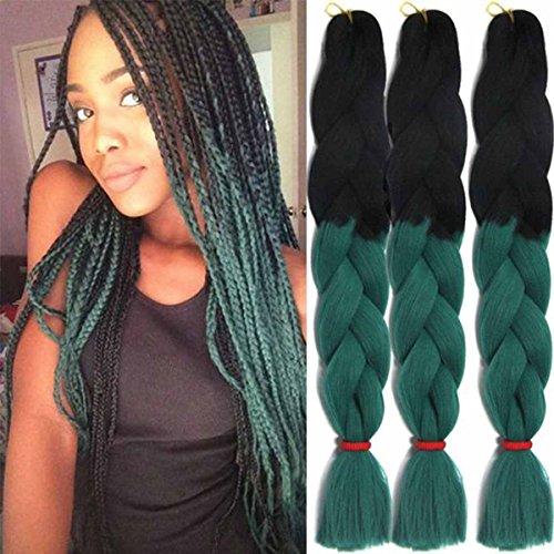 Jumbo Braids Coloré Synthétique Kanekalon Extensions de Cheveux pour DIY Crochet Box Tressage Ombre 100g/pc 2Tone Noir-Vert Foncé 3pcs/Lot 61cm(24 pouces)