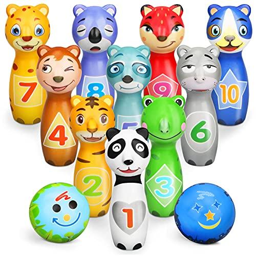 Aoskie Kegelspiel für Kinder mit 10 Kegel und 2 Bälle Bowling Set Geschenke ab Mädchen Junge