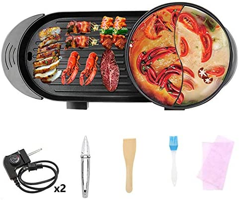 Electric Grill Indoor Hot Pot 2000W Multifunctional Hot Pot Grill with Divider Independent Dual product image