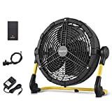 Geek Aire Battery Operated Fan, Rechargeable Outdoor Misting Fan, Portable High Velocity Metal Floor...