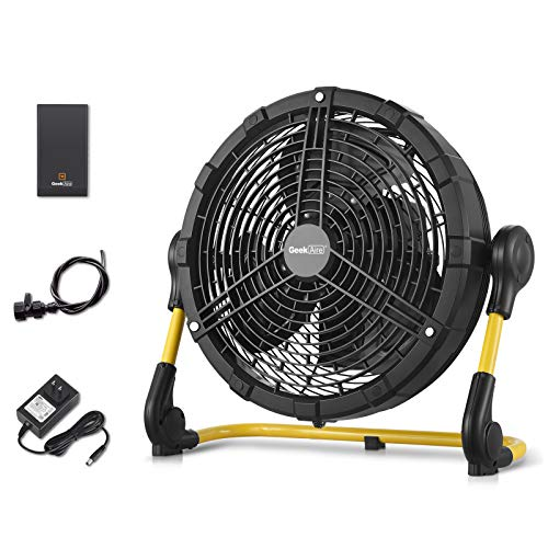 Geek Aire Battery Operated Fan, Rechargeable Outdoor Misting Fan, Portable High Velocity Metal Floor Fan