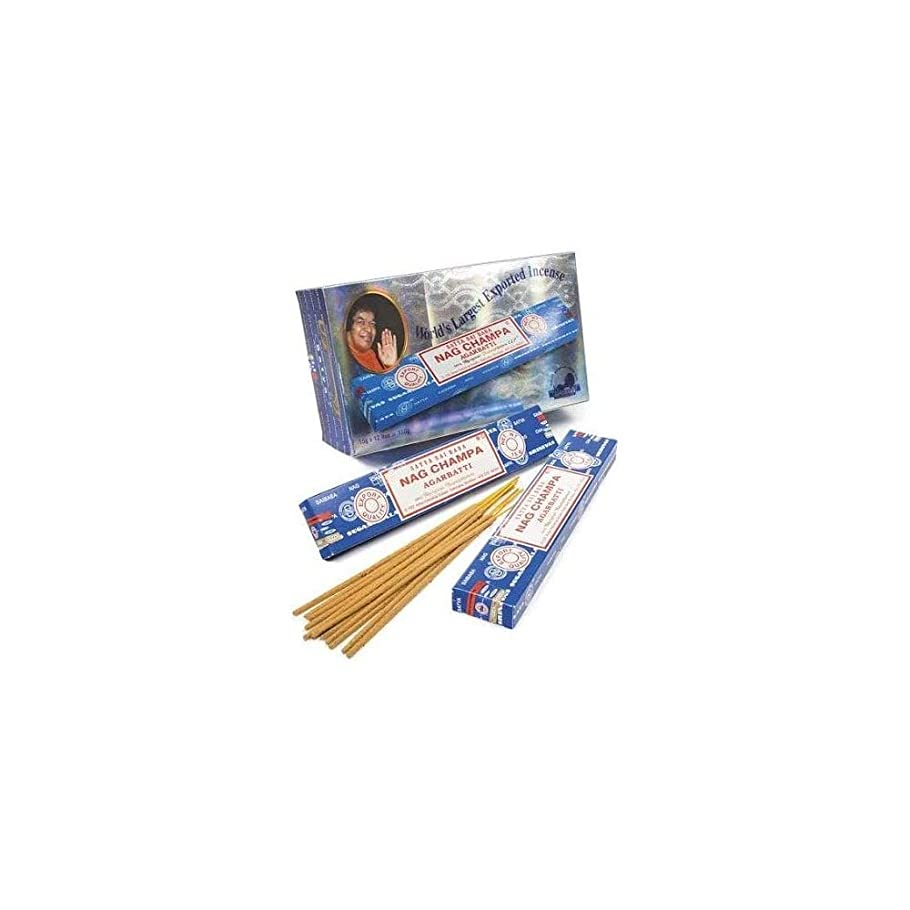 コンプライアンスミサイル障害者Box Of 12 Packs Of 15g Nag Champa Incense Sticks By Satya