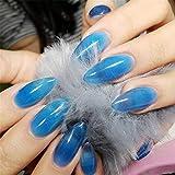 24 Teile Lang Sarg Künstliche Nägel Bling Art 24 Stück + 2g klebe nägel,Ballerina Falsche Nägel- 12 Größen Für Salon Verwendung & Street Hipster & Schwangere (Blue-jelly)