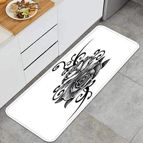 YANAIX Juegos de alfombras de Cocina Multiusos,Rosa Tatuaje Dibujo a Mano sobre Papel,Alfombrillas cómodas para Uso en el Piso de Cocina súper absorbentes y Antideslizantes