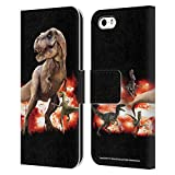 Head Case Designs Officiel Jurassic World T-Rex VS. Velociraptors Art Clé Coque en Cuir à Portefeuille Compatible avec iPhone 5...