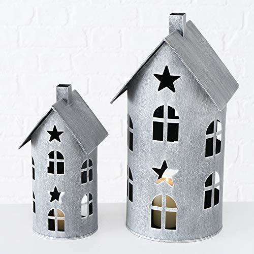 Metall Laterne im 2er Set - Höhe der Laternen: 40/28 cm - Deko Windlicht Haus Kerzenhalter für Innen und Außen