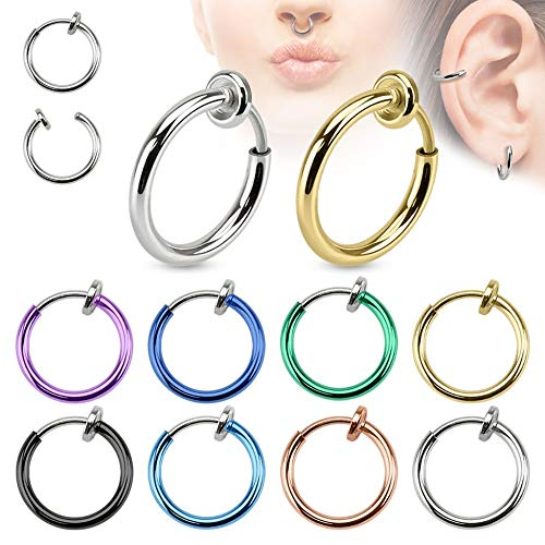 Treuheld® | Fake Piercing Ring aus Chirurgenstahl | Silber | 1,4mm x 10mm | Imitat Piercingschmuck zum Klemmen | für Ohr Nase Lippe Nabel