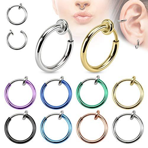 Treuheld® | Fake Piercing Ring aus Chirurgenstahl | Schwarz | 1,4mm x...