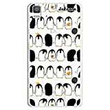 dakanna Funda Compatible con [Bq Aquaris E5 4G - E5S] de Silicona Flexible, Dibujo Diseño [Pattern de pingüinos con Helado], Color [Fondo Transparente] Carcasa Case Cover de Gel TPU para Smartphone