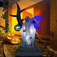 ZALALOVA 6Ft Halloween Inflatable Tree Ghost & Tombstone