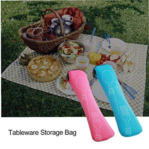 Bongles 1pcs Waschbar Knochen-Art-Geschirr-Tasche Reißverschluss -travel Besteck Kit Neopren-Kasten Zufälliger Farben