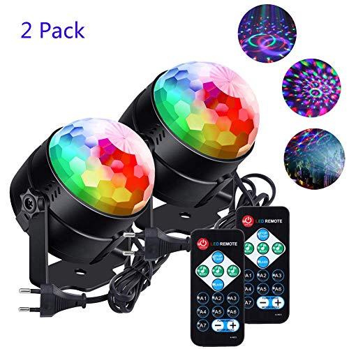 Lunsy Bola de discoteca, RGB, LED, control de música, lámpara de fiesta, efectos de luz, luz de discoteca giratoria 360°, con mando a distancia, para Navidad, niños, habitación de los niños