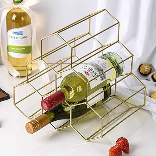 YTQ Estante De Vino De Rombo De Metal De 6 Botellas, Soporte De Almacenamiento De Vino De Soporte Libre para Encimera Protector De Ahorro De Espacio para Vinos Tintos Y Blancos(Size:Dorado)