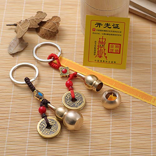 Feng Shui Coins with Brass Calabash Wu Lou Key Chain for Longevity Travel Safely Wealth Porsperity Success and Good Luck with Blessing Paper in it