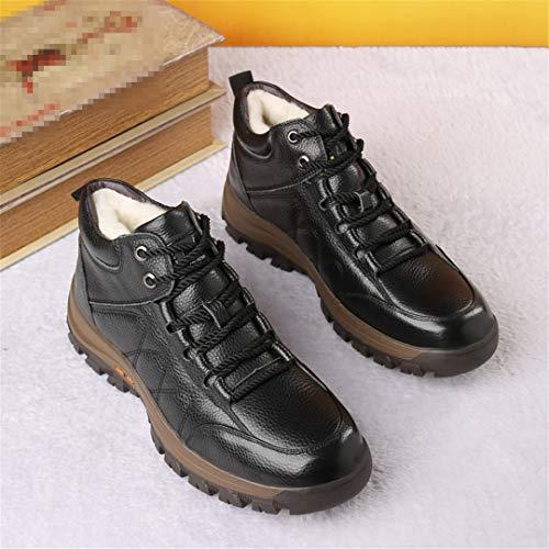 Jancerkmou Botas cálidas de Piel de Invierno para Hombre, más Zapatos de algodón Grueso de Terciopelo, Botas Cortas de Tendencia de Negocios de Cuero Informal Black 6.5