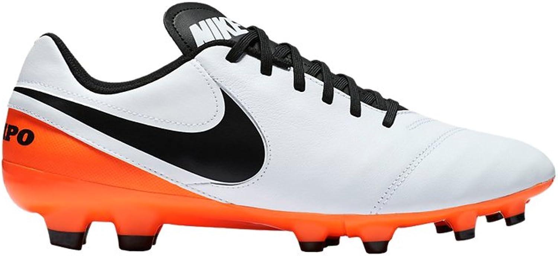 Nike Tiempo Genio Leather II (FG) White Black-Total orange Size US  6