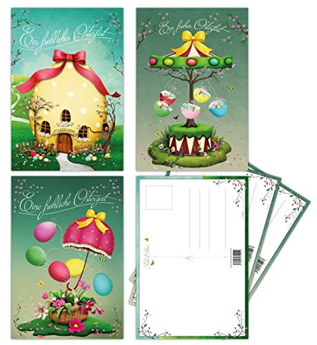 15 Osterkarten im Set mit 3 verschiedenen Motiven - Postkarten, Osterpostkarten, Postkartenset Ostern - tolle Größe für Ihre Ostergrüße, modernes Design mit einem Hauch Nostalgie in Frühlingsfarben