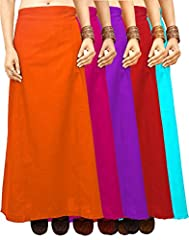 100% Cotton imported 100% Cotton Poplin (Standard Poplin), Mercerized Pattern : 7 Parts Sari Petticoat With Adjustable Waist- One Size Fits All Under Skirt For Saree Gentle Wash.