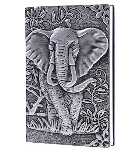 ZCSMTZ Cuaderno de dibujo en relieve, tamaño A5, con elefante, vintage, hecho a mano, cuaderno de bocetos, 3 colores para tu elección (plata)