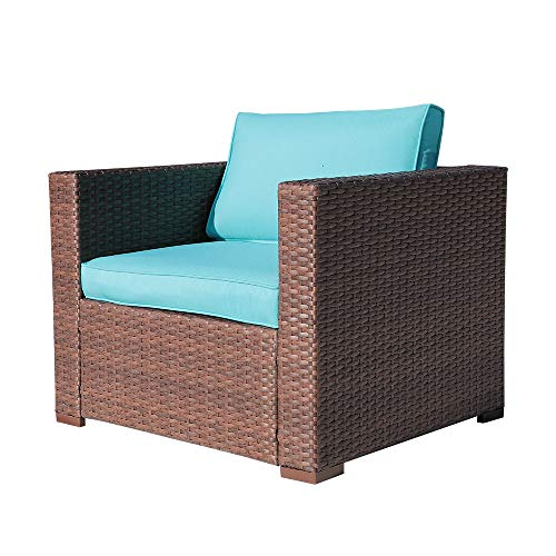 OC Orange-Casual Outdoor Patio Armchair Sofa Chair All-Weather Wicker Furniture with Turquoise Cushions, Additional Chair for Sectional Sets, Garden, Backyard, Pool