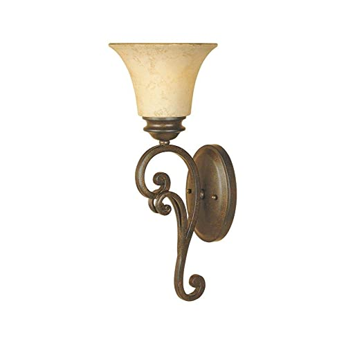 Forged Bronze Progress Lighting P2881-77 1-Light Wall Bracket with Tea Stained Glass