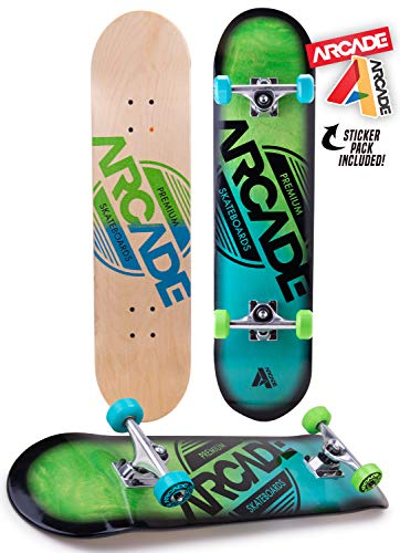 """Arcade Pro Skateboard 31"""" Standard Complete Skateboards Professional Complete Board w/Concave - Skate Boards Great for Beginners, Adults, Teens, Youth & Kids (7.75"""" Origin)"""