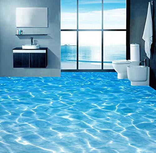 Luzhenyi 3D Boden Wandbilder Tapete Meerwasser Oberfläche Ripple Fototapete Pvc Wasserdichte Badezimmerboden Aufkleber Vinyl Wandpapier-200(H)*280(W) Cm