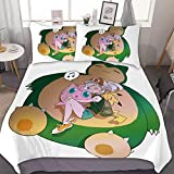 MEW Anime Bedding Duvet Cover Set,Full (80x90 inch), Pikachu Snorlax Jigglypuff,3 Pieces Bedding Set,with Zipper Closure and 2 Pillow Shams, Cute Cartoon Bedroom Comforter Sets for Boys Girls