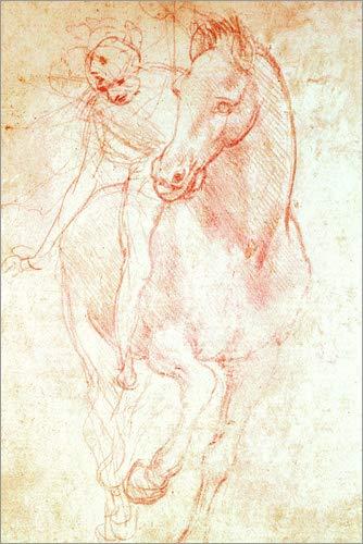 Poster 20 x 30 cm: Studie eines Pferdes mit Reiter von Leonardo da Vinci/Bridgeman Images -...