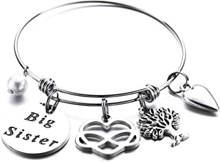 Sister Gifts from Sister Bracelets, Engraved Inspirational Quote Stainless Steel Expendable Bangle Bracelet Sister to Sister Gift for Graduation Christmas Birthday Friendship