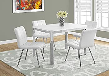 Monarch Specialties I DINING TABLE - 32 X 48 / WHITE/CHROME METAL,