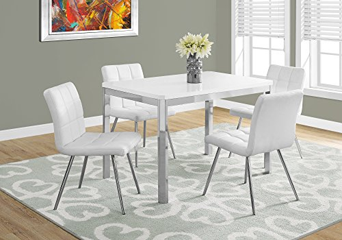 "Monarch Specialties I DINING TABLE - 32""X 48""/ WHITE/CHROME METAL,"