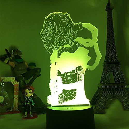 Lámpara de ilusión 3D My Hero Academia Night Light para niños 16 colores que cambian la lámpara de noche con mando a distancia, regalo de cumpleaños para niños y adultos