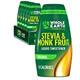 Whole Earth Sweetener Co. Stevia & Monk Fruit Liquid Sweetener, Original, 1.62 Ounce Squeeze Bottle (Pack of 6)
