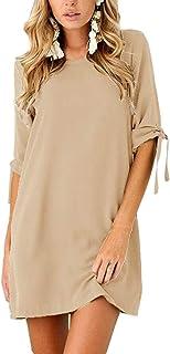 GRMO Women Solid Color Short Sleeve T-Shirt Crewneck Stylish Casual Dresses Mini