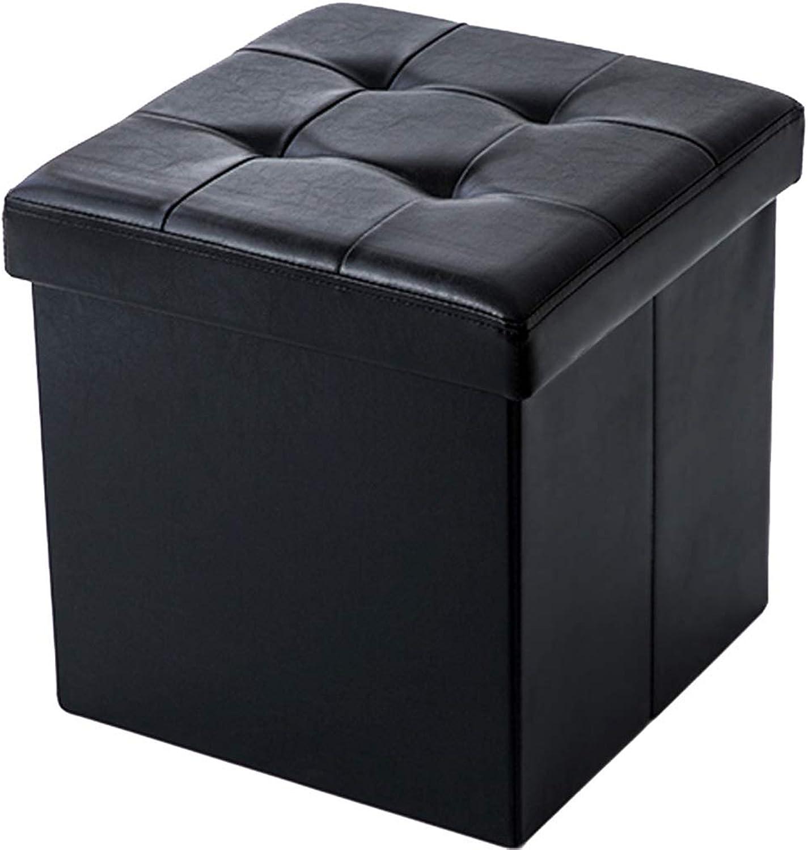 Leather Black Storage Stool Square Sofa Folding Storage Debris Can Sit Adult