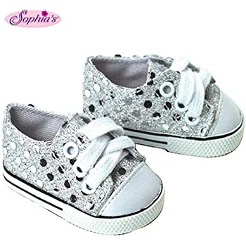 """Black Canvas High Top Sneakers Shoes fit 18/"""" American Girl Size Doll"""
