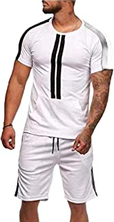 Men's Tracksuit 2 Piece Outfit Sport Set Short Sleeve Tops + Short Pants
